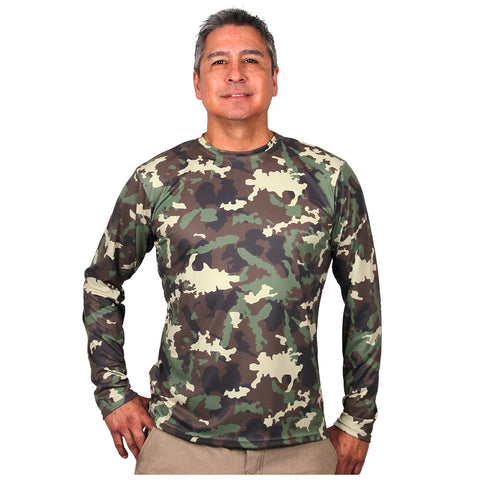 Nozone mens sun protective uv long sleeve shirt - camo print