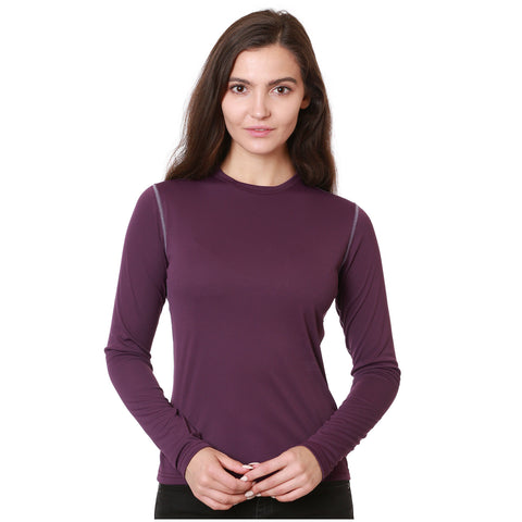 Nozone versa womens Sun Protective Shirt with contrast stitching UPF 50+ eggplant purple lightweight breathable soft performance