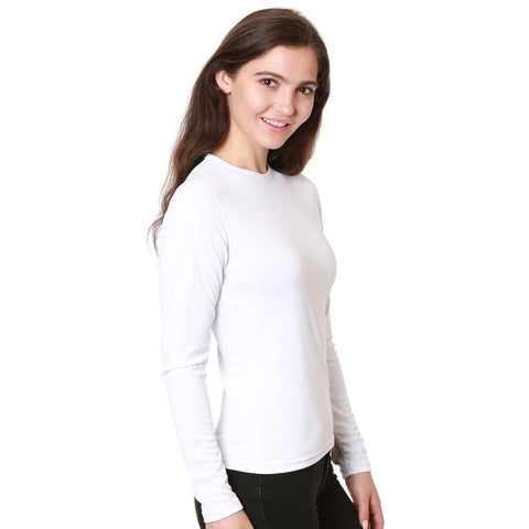 Nozone Women's Long Sleeved upf 50 Sun Protective Shirt in White breathable lightweight performance soft