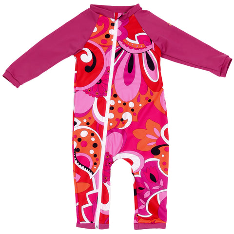 Nozone UPF 50+ baby and toddler full zipper swimsuit in pink