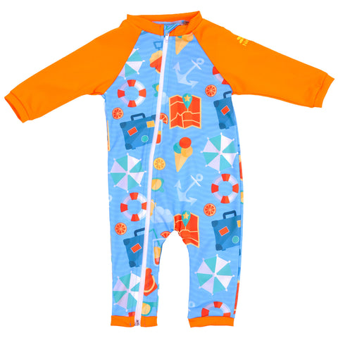 Nozone full zip baby boy swimsuit - beach vacation - blue orange beach print breathable