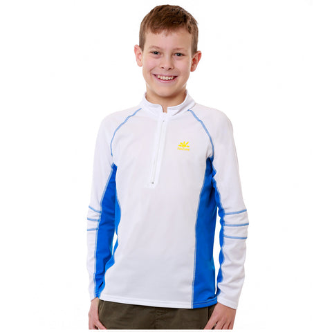 Nozone Long Sleeved UPF 50+ Kids Sun-Blocking Swim Shirt white