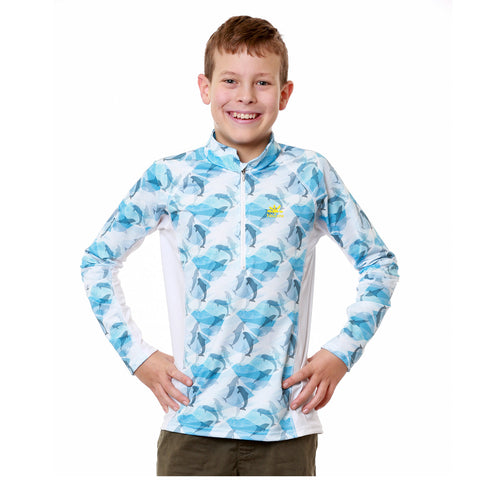Nozone Kids Sun-Blocking UPF 50+ Swim Shirt in dolphin print