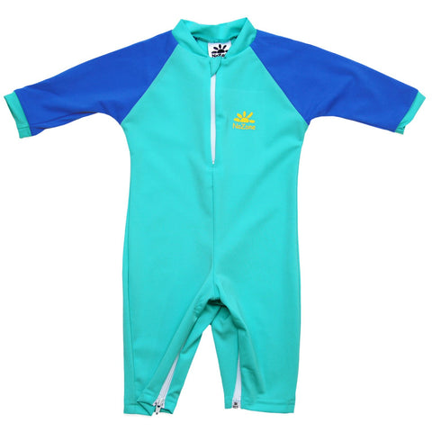 Nozone baby boy upf 50+ sun protective swimsuit with diaper zipper blue