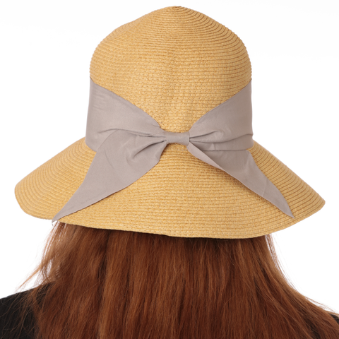 Straw Sun Hat with Bow for Women