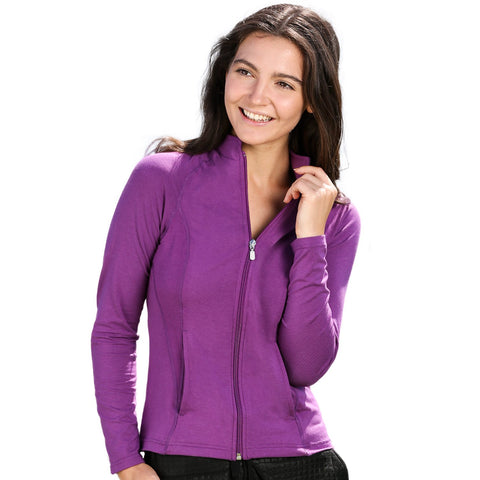 Nozone upf 50+ full zip sun shirt jacket soft bamboo long sleeve sun protection - purple