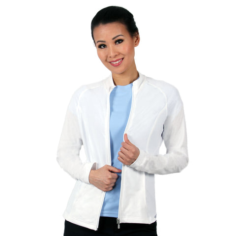 Nozone womens white full zip lanai uv sun shirt - bamboo jacket