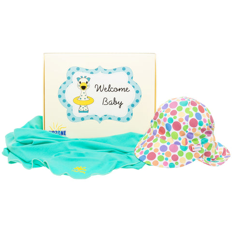 Nozone Baby girl uv protective blanket flap hat gift box polka dot