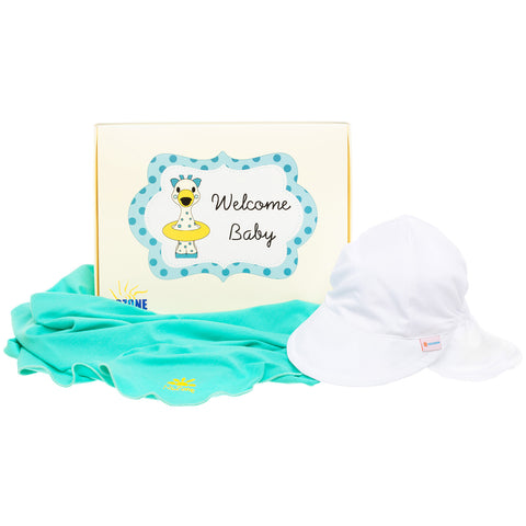 Nozone Baby gender neutral sun blanket flap hat gift box
