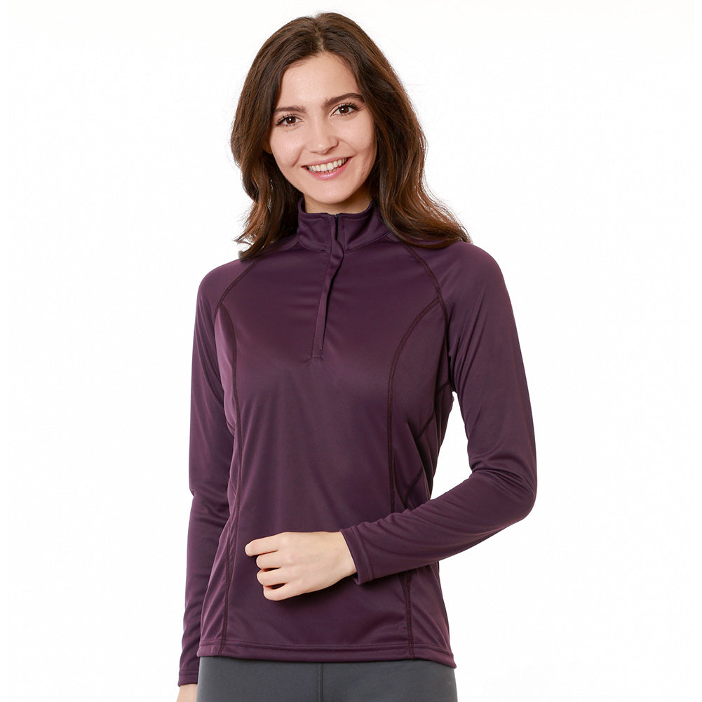 Nozone women's sun protective equestrian polo shirt - eggplant purple upf 50 long sleeve lightweight soft