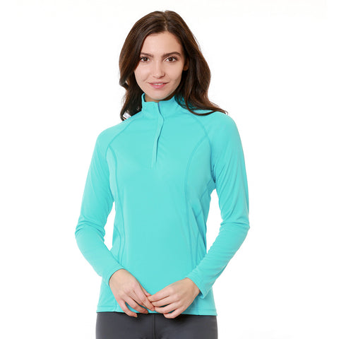 Nozone tuscany women's sun protective polo equestrian zip shirt turquoise blue lightweight breahable upf 50
