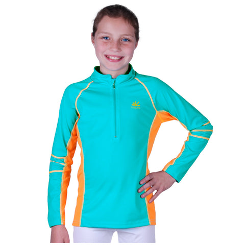 nozone kids long sleeve uv swim shirt rash guard blue orange