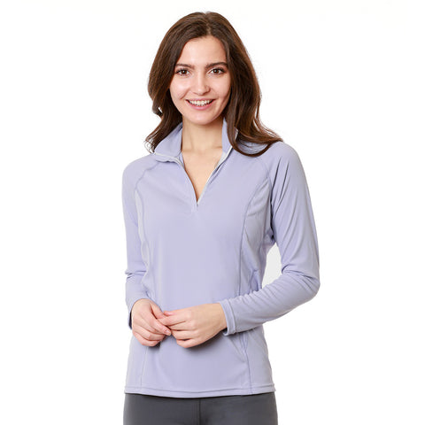 Nozone women's longsleeve sun protective upf 50 equestrian zip shirt - lavender purple breathable lightweight