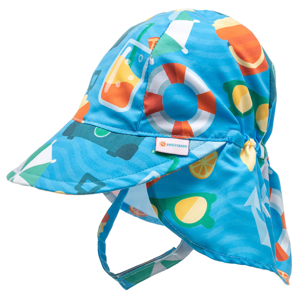 Nozone baby boy sun protective beach swim hat in fun blue print