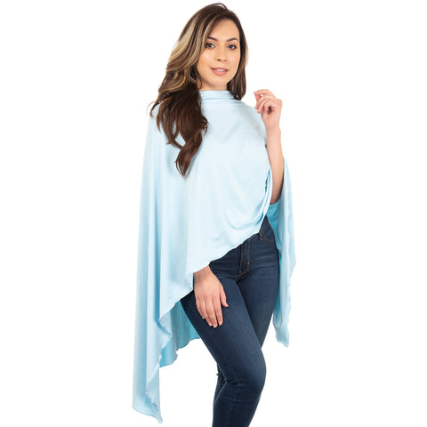 Nozone sun drape shawl blanket cover up for women in light blue soft
