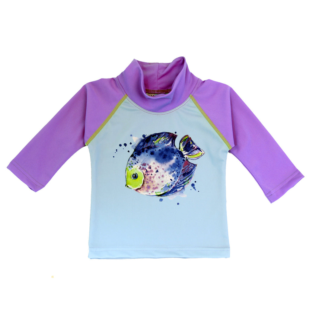 Nozone baby girl toddler swim shirt fish lavender purple