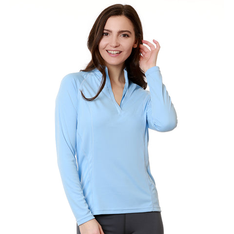 Nozone women's uv blocking long sleeve Tuscany equestrian zip shirt - baby light blue lightweight breathable stylish