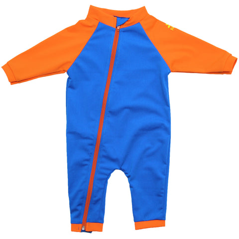 nozone tahiti full zipper sun protective upf 50 long sleeve baby boy swimsuit onesie blue orange