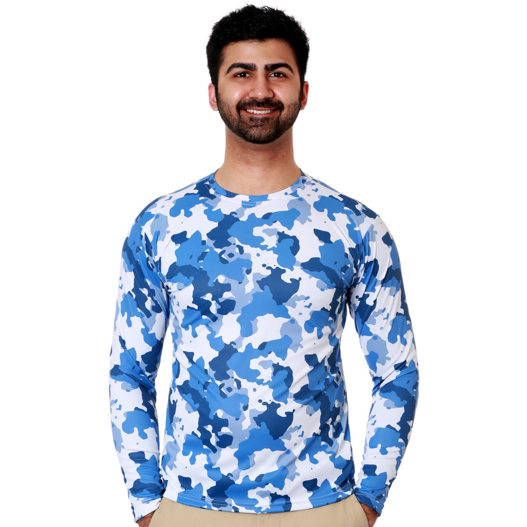 Nozone mens sun protective long sleeve fishing shirt - blue camo