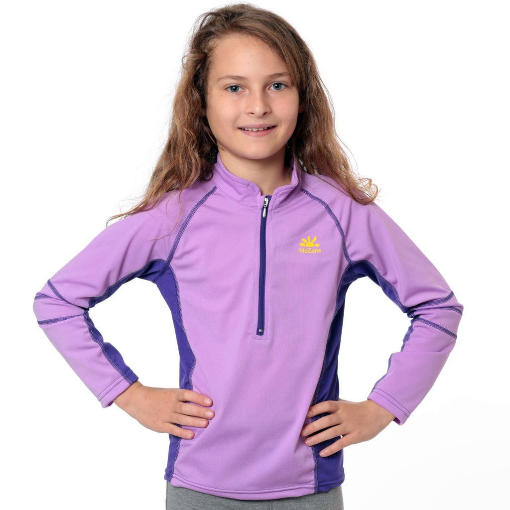 Nozone girls sun blocking swim shirt lavender purple
