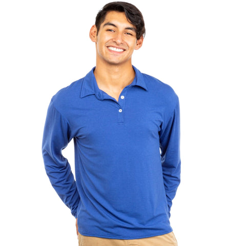 Nozone upf 50+ spf long sleeve mens golf polo bamboo sun protection royal twilight blue