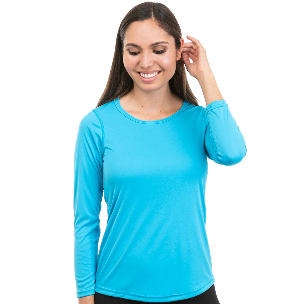Nozone Comfort Fit Womens Sun Protective Long Sleeve Shirt Turquoise Blue UPF 50+