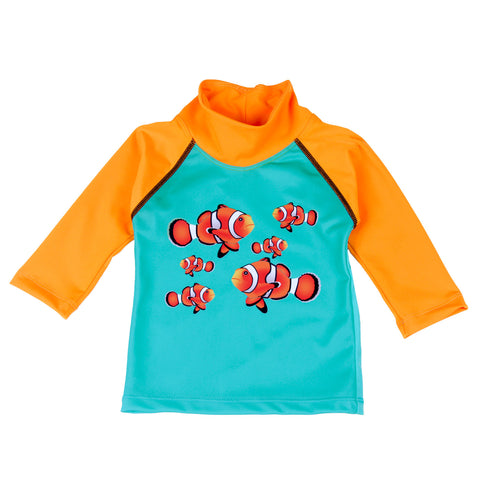 Nozone sun & surf safe UPF 50+ clownfish swim shirt for kids
