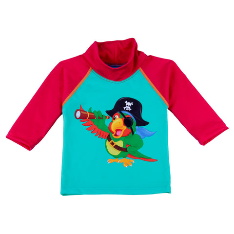 Nozone sun safe UPF 50+ parrot pirate baby swim shirt