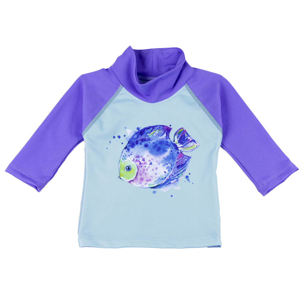 UPF 50+ purple baby fish swim shirt