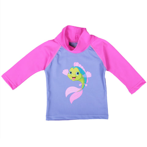 nozone upf 50+ baby girl long sleeve swim shirt pink lavender fish