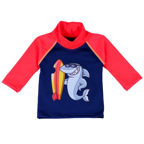 Nozone UPF 50+ surfing shark baby swim shirt in red and navy