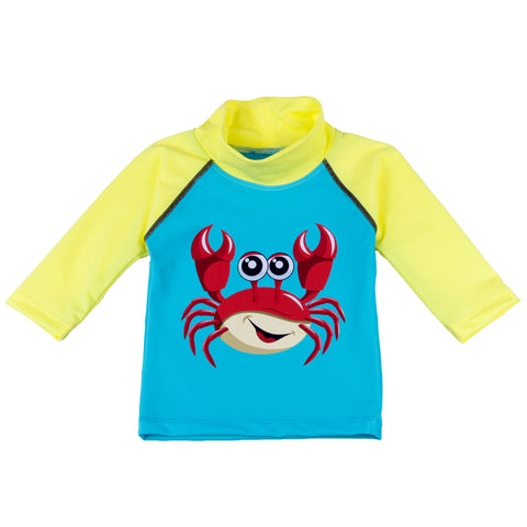 Nozone UPF 50+ friendly crab baby swim shirt in blue and yellow