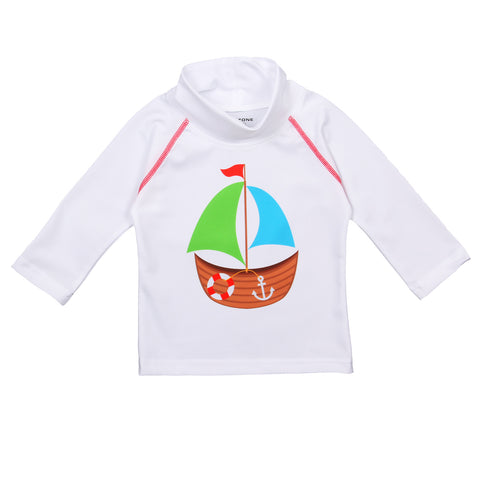 nozone sun protective baby boy white swim shirt sailboat