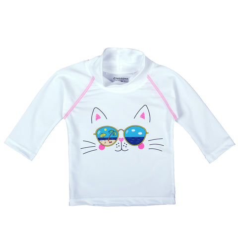 nozone sun protective baby girl swim shirt rash guard cat shades