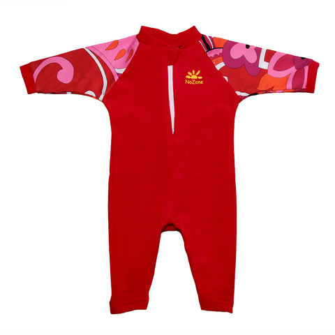 Nozone uv blocking upf 50 sun protective fiji lightweight soft breathable skin protecting baby girl swimsuit red print