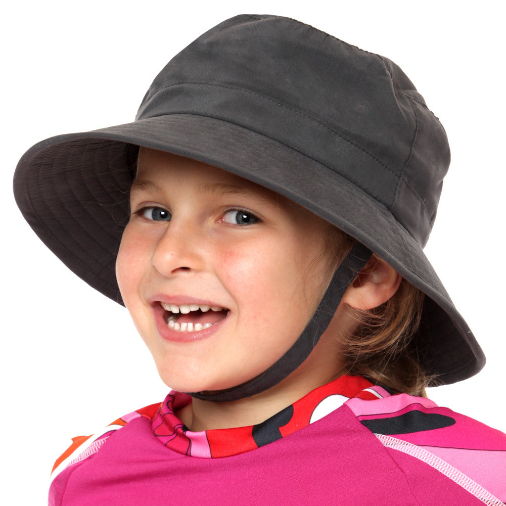 Nozone's Kid's Charcoal Sun Hat with strap