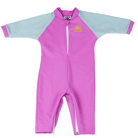 Nozone fiji pink gray sun protective lightweight breathable soft baby girl full body spf 50+ swimsuit
