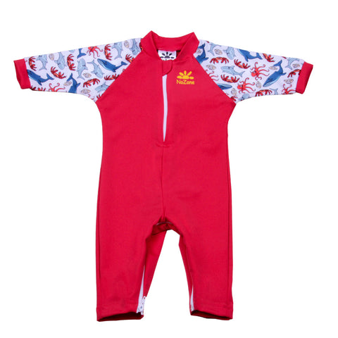 Nozone sun protective baby boy Swimsuit red crabs sea whales