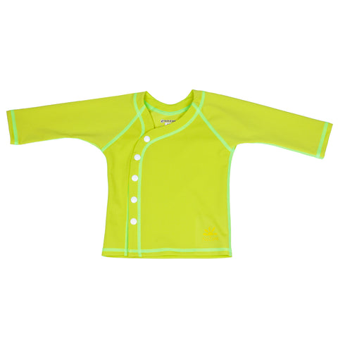 Nozone Sun Blocking long sleeved baby shirt cover up in lime
