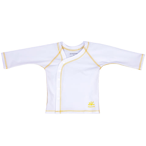 Nozone UPF 50+ Sun Protective baby shirt cover up in white