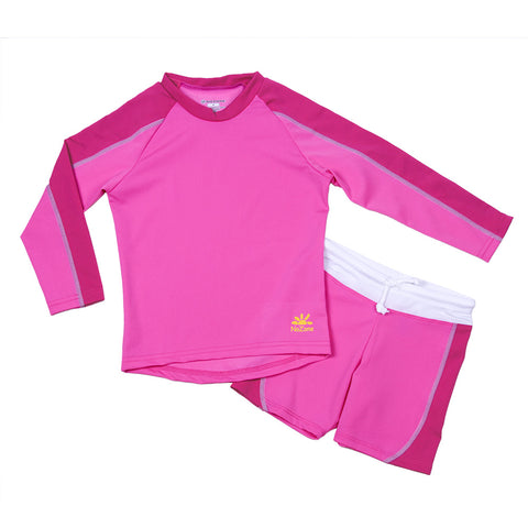 Nozone girls two piece sun protective SPF 50+ swimsuit in pink fuscia breathable modest