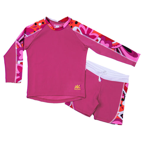 Nozone girls uv protective rash guard swimsuit shorts set two piece pink breathable soft