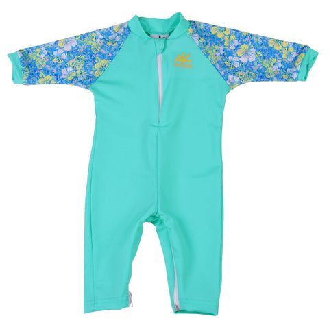 Nozone uv baby girl fiji sun protective upf 50 lightweight breathable soft swimsuit onesie hawaiian aqua print