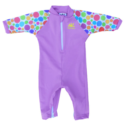 Nozone baby girls lavender polka dot sun protective swimsuit