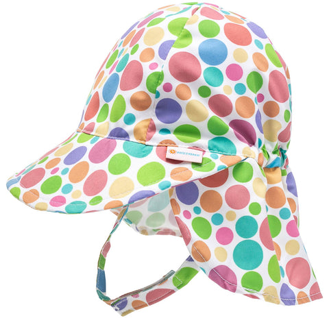 Nozone upf 50 baby girls sun flap hat in polka dot print fun breathable lightweight