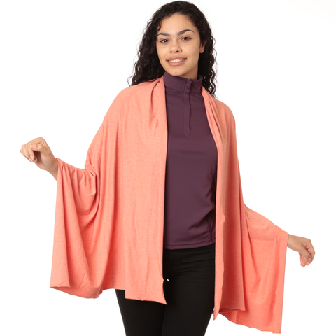 Nozone sun protection womens sun shawl bamboo soft drape wrap - peach upf 50+