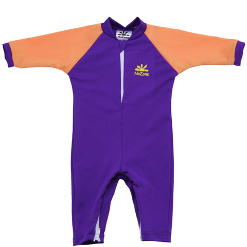 nozone fiji baby girl upf 50+ breathable lightweight soft sun protective swimsuit purple orange