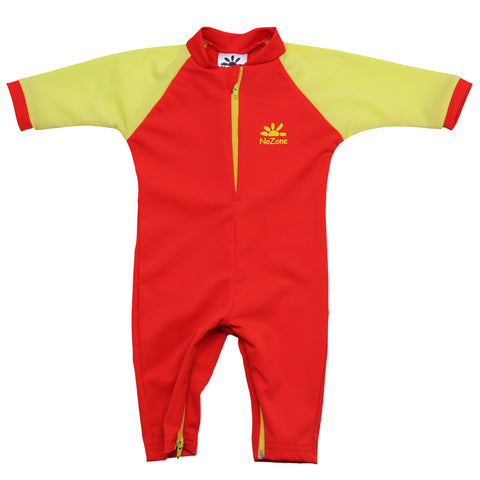 nozone baby fiji sun protective upf 50 breathable soft lightweight baby swimsuit red yellow