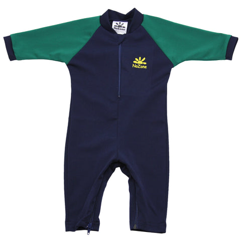 nozone fiji sun safe upf 50 breathable lightweight soft baby boy navy green swimsuit