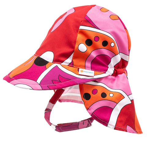 Nozone baby girl sun protective beach swim flap hat in pink print